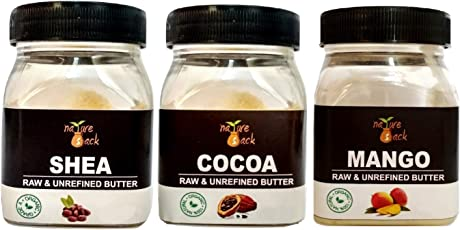 Nature Sack's Premium Combo of Unrefined Raw Cocoa, Shea & Mango Butter, Pack of 3 (150g)