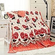 Shinemoon Collection Home Parure de lit moelleuse en polaire jeté de lit Couverture Girl pour chambre d'enfant chaud couvertures avec motif roses, Polyester, Roses pattern, 150 x 200cm