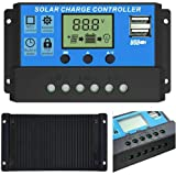 HASTHIP® LCD Display 10A amp Solar USB Charge Controller Regulator 12V/24V Auto Switch - 10a, Management System Volt Regulato