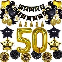 بالونات زينة لاعياد الميلاد 52 قطعة لعيد الميلاد الخمسين - لافتة عيد ميلاد سعيد، 50 بالونة ذهبية اسود وذهبي، بالونات عيد ميلاد رقم 50، لوازم الزينة لعيد الميلاد رقم 50