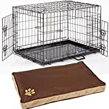 """Dog Crate With Bed Large 36"""" + Waterproof Dog Cage Bed Included Puppy Crate Metal Tray Folding Training Cage (Design 6 Luxury Cage, Size 3 - 36"""" Large)"""
