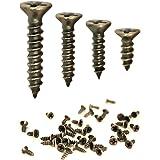 FUXXER® - 100x antieke houtschroeven, messing bronzen antieke look, kruiskop, kruisschroeven, verzonken kop, zelfsnijdend, se