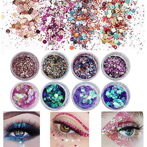 Glitzer Sequin Chunky Glitter Körperglitzer für Gesicht Nägel Augen Lippen Haare Körper, Make-Up Glitzer Paillette für Musik Festival Masquerade Halloween Party 8 Farben