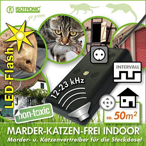 ISOTRONIC Marderschreck mit Licht und Ultraschall für Haus, Garage und Dachboden - vertreibt nicht nur Marder, sondern auch Katzen, Mäuse und Ratten, ideal für den Innenraum