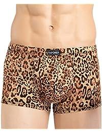 Panegy - Calzoncillos sin Costuras Spandex Estampado Leopardo Ropa Interior Atractiva para Hombre