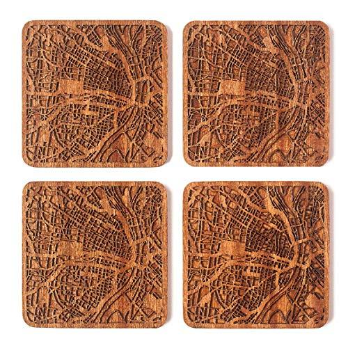 Untersetzer mit Stadtkarte, jede Kombination aus mehreren Städten, optional, Sapeli-Holzuntersetzer mit Stadtkarte St. Louis, MO braun