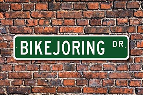 bikejoring Geschenk bikejoring Schild Team von Hunde Pull Reiter auf Fahrrad bikejoring Lover Street Art Wall Decor Aluminium Metall Schild 45x 10cm (Kostenlose Filme Auf Art)