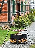 Dreifuß-Grill aus schwarzem Stahl, 180 cm inkl. Feuerschale, Höhe ca. 45 cm