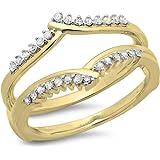 Anillo doble en oro 14 quilates con guarda de diamantes de 0,25 quilates, mujeres, aniversarios, bodas.