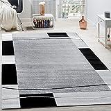 Designer Teppich Wohnzimmer Teppich Bordüre in Grau Schwarz Creme Preishammer