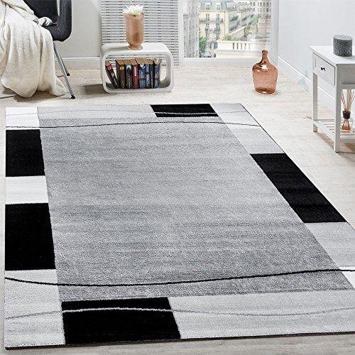 Paco Home Designer Teppich Wohnzimmer Teppich Bordüre in Grau Schwarz Creme Preishammer, Grösse:80x150 cm