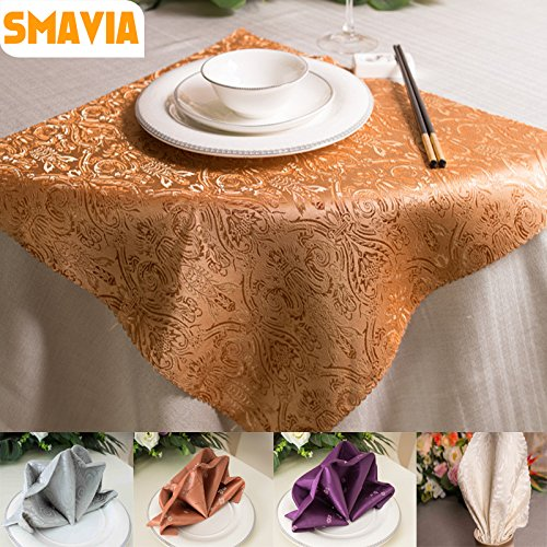 Sellify mix color : 5pcs 48x48cm Wedding Table Napkins Cloth Wedding Hotel Table Decoration coffee Purple With printed small Plum Flower 8 colors