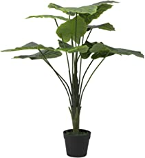Hyperboles Artificial Plant- Fake Silk Palm Potted Plant 2ft Artificial Taro Tree with Bendable, Adjustable Branches - Decorative Fake Greenery Trees in Pots for Home, Restaurant & Office Decor
