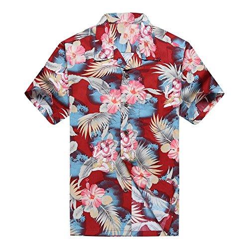 Hombres-Aloha-camisa-hawaiana-en-Chica-Hula-Floral-Rojo-S