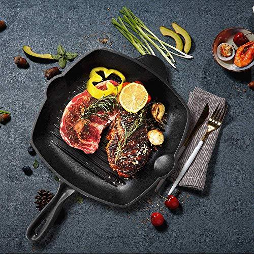 Küpfanche 28cm Quadratische Grillpfanne aus Gusseisen mit mattschwarzer Emaillierung, schöne Grillstreifen, schwarz