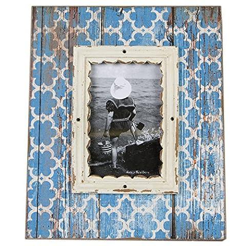 Just Contempo Cadre photo en bois _ P, Bois dense, Blue Moroccan, 4 x 6 inches