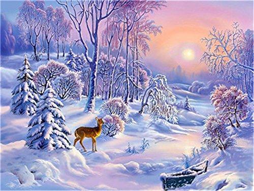 DIY Öl Malen nach Zahlen Kit für Erwachsene Anfänger 40,6x 50,8cm-Little Elch Schnee Szene, Zeichnen mit Pinsel Weihnachten Decor Dekorationen Geschenke Frame -