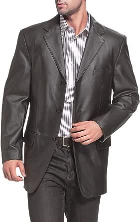 BGSD Men's Liam 3-Button Leather Blazer Lambskin Sport Coat Jacket