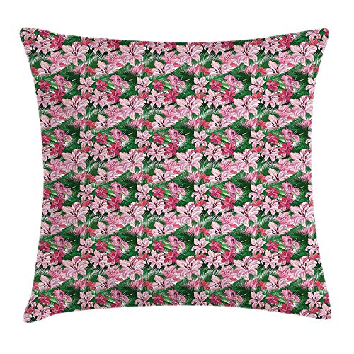 ZTLKFL Jungle Throw Pillow Cushion Cover, Lush Growth of The Exotic Hawaiian Island Blossoms in Pink Shades Spring in Paradise, Decorative Square Accent Pillow Case, 18 X 18 inches, Multicolor - Paradise Box-spring