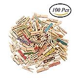 CCINEE 100Stück 35mm Colorful Holz Klammern Mini Wäscheklammer für Foto Clips Wäscheklammern