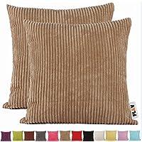 Fundas de cojín PLANDV® lisas de pana, paquete de 2unidades, marrón claro, 55 x 55 cm