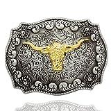 Q & Q Fashion Boucle de ceinture pour hommes style western avec tête de taureau gravée Argent doré