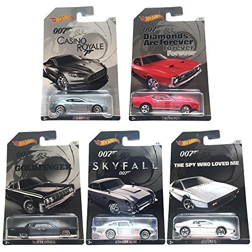 Hot Wheels, 2015 Exclusive James Bond 007 Collection, Bundle Set of 5 Die-Cast Cars, 1:64 Scale by Mattel