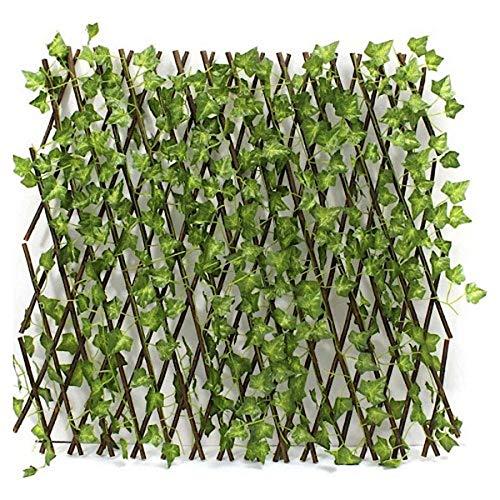 Zaun ausziehbar, Hecke, Bambus mit Blättern, Gitter, Sichtschutz, Garten, künstliches Efeu, Blätter, Dekoration, Hintergrund, 130cm- Einstellbare Expansion -