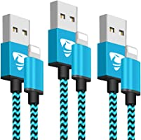 Phone Charger Cable Aione 2M/6FT-3Pack Nylon Braided Fast Charging Cable Compatible with 8/7/6/6 Plus/ 6s and More(Blue)