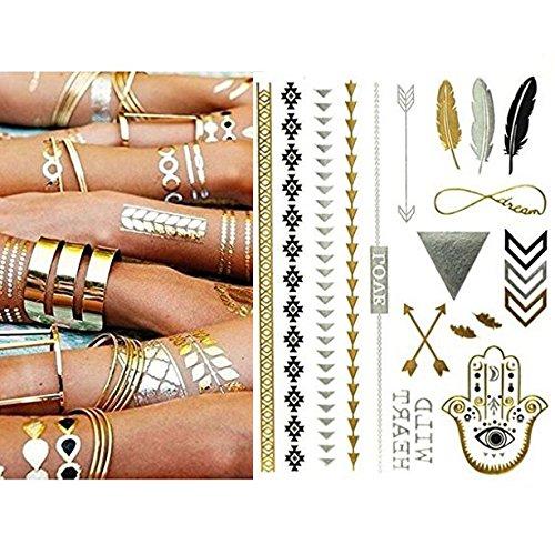 Miya® 1stück wild style metallic tatuaggio, flash tattoos, tattoo, oro nero argento colori temporanea gioielli tattoo per corpo dita braccia, collana bracciale flash tatuaggi body tattoo, form01