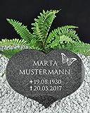 Grabstein Urnenstein Herz inkl. Inschrift 40x30x7 cm Material: Absolute Black