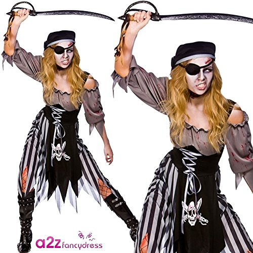 Zombie cutthroat pirate signore di halloween / carnival costume - medium - 14/16 - 42/44