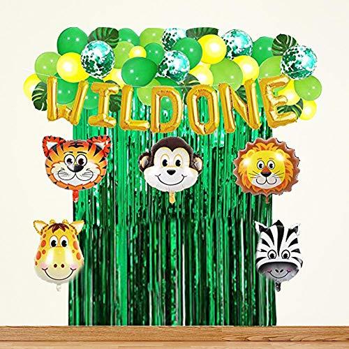 WUYANSE Palm Leaves Ballons Latex Ballons Banner Pack Tierballon Jungle Style für Geburtstagsfeier
