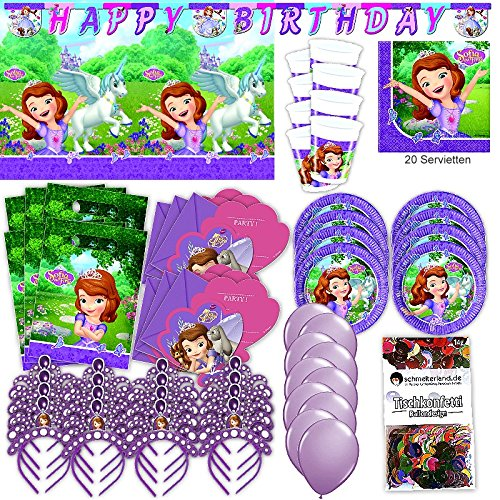 Procos Sofia The First Party Set XL 75-teilig für 6 Gäste Sofiaparty Geburtstag Deko Partypaket