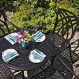 Lazy Susan - Table ronde 80 cm ANNA et 4 chaises de jardin - Salon de jardin en aluminium moulé, coloris Bronze ancien (chaises APRIL)