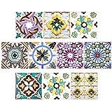 Adesivi per Piastrelle, Comius 10 PCS DIY Impermeabile Autoadesiva Vetro Piastrelle Adesivi Muro Decals Piastrelle Tile Stickers per Bagno, Toilette, Cucina, Soggiorno (20cm×20cm) (C)