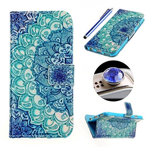 Etche Housse de protection pour iPhone 6/6S, étui en cuir flip pour iPhone 6/6S, colorés Case Imprimé pour iPhone 6s, Mode PU Housse en cuir Housse Portefeuille Housse en cuir avec des cartes de crédi pétales verts