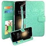 CMID BQ Aquaris U Plus Hülle, PU Leder Brieftasche Handytasche Flip Bookcase Schutzhülle Cover [Kartensteckplatz][Magnetverschluss][Ständer][Handschlaufe] für BQ Aquaris U Plus (A-Grün)