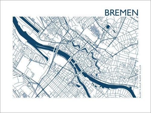 Poster 130 x 100 cm: Bremen STADTPLAN Indigo von 44spaces - Hochwertiger Kunstdruck, Neues Kunstposter
