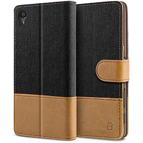 BEZ® Hülle für Sony Xperia X Hülle Handyhülle Kompatibel für Sony Xperia X, Handytasche Schutzhülle Tasche [Stoff und PU Leder] mit Kreditkartenhaltern - Schwarz