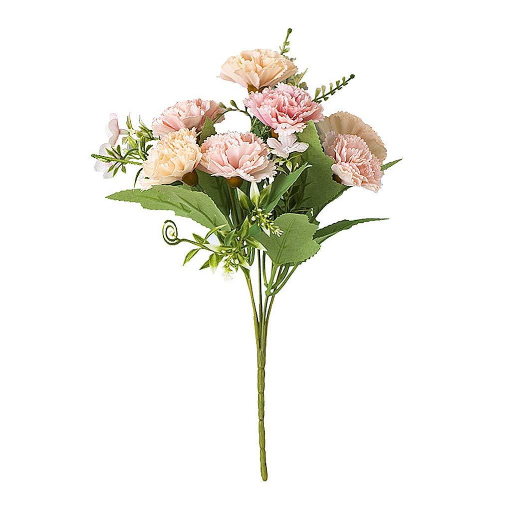 JUANMONO Flores Artificiales Mejor Regalo Flor Artificial de Clavel Flor de Seda Artificial Arbusto de Boda en Casa…