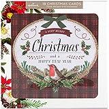 Hallmark–Tarjeta de felicitación, tarjeta de Navidad Pack 'tradicional diseño floral–18tarjetas, 3diseños