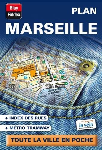 Marseille : Plan de poche avec localisation des stations de vélo (échelle 1/15 000) par Blay-Foldex