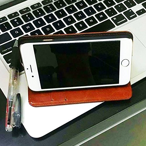 Hamee Original Premium PU Leather Flip Diary Card Pocket Designer Case Cover Stand with Screen Film Protector for iPhone 6 / 6s (Brown / Ethnic Plant 1)