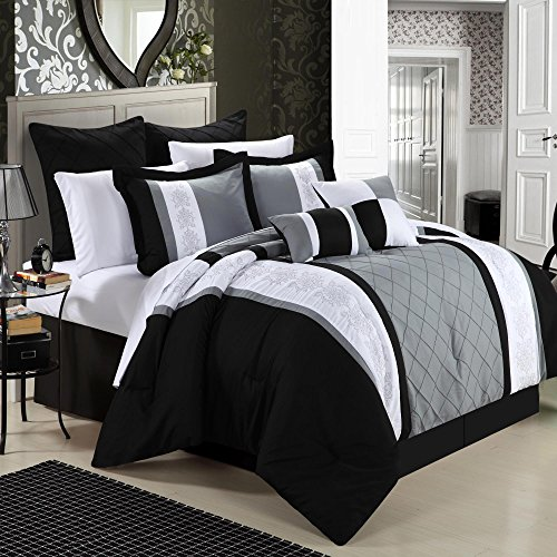 Chic Home 8-teilig Stickerei Tröster Set, Polyurethan, Livingston Black, King Size