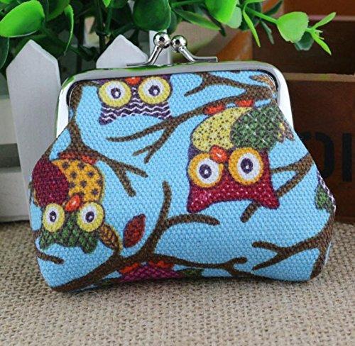 Huihuger Lovely Owl Canvas-Geldbeutel mit Tasche, für Damen und Mädchen, Blau