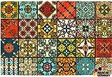 matches21 Fußmatte Fußabstreifer Marokko Retro Mosaik Essence 40x60x0,5 cm Rutschfest maschinenwaschbar