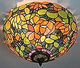 Gweat 16-Zoll-Europäischen Retro-Stil Tiffany Blühende Blumen-Buntglas-Unterputz Deckenleuchte Esszimmer Licht
