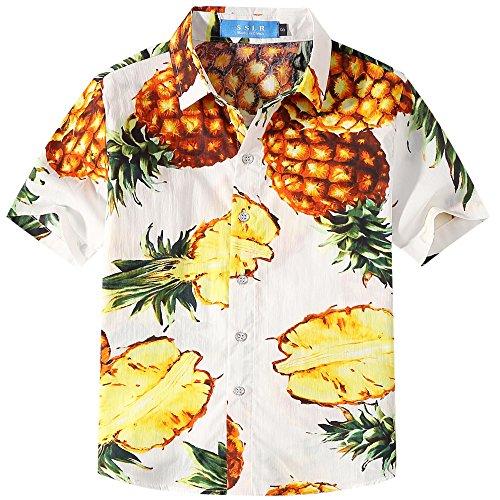 SSLR Jungen Gelb Ananas Baumwolle Freizeit Kurzarm Hawaii Hemd (X-Large (13-16Jahren), Weiß)