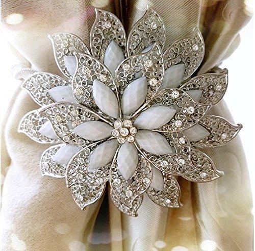 Magnetverschluss Kristall Diamant Flower Vorhang Raffhalter Clip Kristall Raffband & raffarme Vorhang Clips, 1Stück, PC silber (Vorhang Zugbänder Silber)
